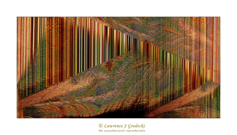 Abstraction of leaves and bright colorful stripes