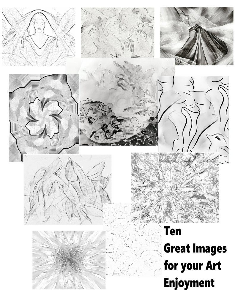 Group of 10 black & white art prints